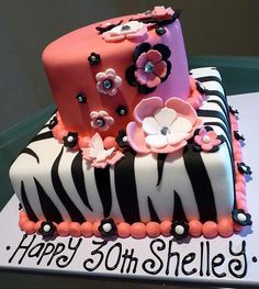 Two tier Zebra stripe and pink 30th birthday cake for a woman.JPG