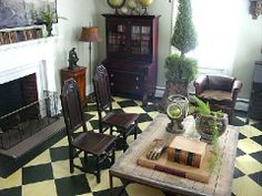 painted black and white checker floors @Edie Wadsworth
