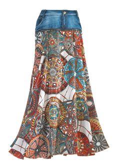 Medallion & Denim Skirt, easy refashion from old jeans