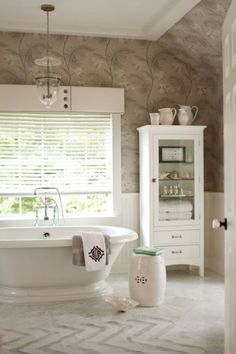 baths, cornice boards, contemporary bathrooms, bathtub, wood blind, cabinet, bathroom designs, window treatments, window valances