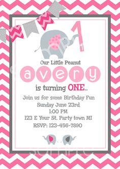 Elephant Birthday Invitation / First Birthday / Pink / Baby Girl. $10.00, via Etsy.