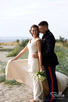 Love this military wedding / beach theme