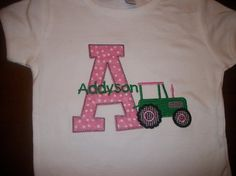 Custom boutique birthday t shirt tractor john deere by IzzyBTees, $25.00