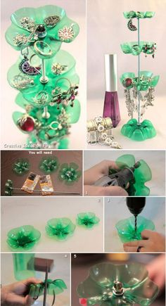 Jewelry Holder out of recycled pop bottles~