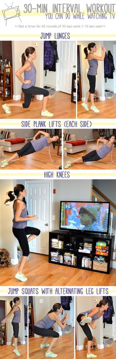 30-Minute Interval Workout You Can Do While Watching TV. (The real question is what is this lady watching on TV!?)