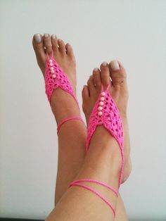 Pink  crochet with white beads  Barefoot Sandals by ArtofAccessory, $15.00