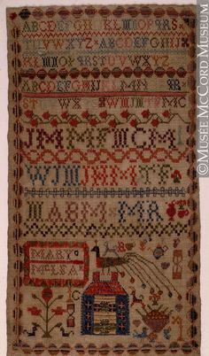 Sampler Mary McLean About 1870, 19th century sampler mari, 19th centuri, 19th century, cross stitch, primitive samplers, mari mclean
