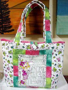 Bolsa de tecido com patchwork simples com estampa