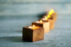 5 Tea light Candle Holder Wood tea light Lantern Wood by Oniroteo