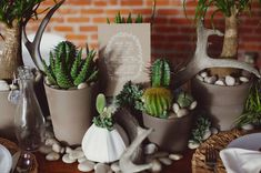 Eco-chic reception table centerpieces with lots of cacti, air plants, succulents, stones, antlers and modern containers. Such a perfect modern look and the cacti will last long after the day as a remembrance.