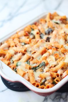 Baked Rigatoni with Roasted Eggplant, Spinach, and Fresh Mozzarella