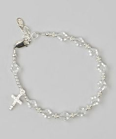 Look at this #zulilyfind! Sterling Silver & Clear Crystal Rosary Bracelet by Tiny Treasures  #zulilyfinds