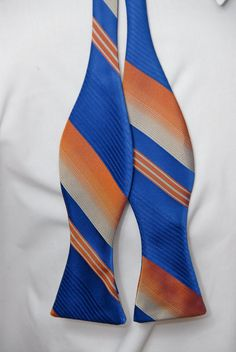 Vintage Blue and Orange Striped Bow Tie. $25.00, via Etsy.