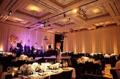 Bacara Wedding ballroom transformation.  Black, ivory and blush color palette.
