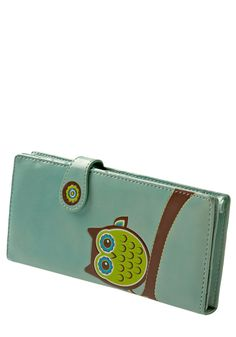 Fl-owl-er Power Wallet - Green, Blue, Multi, Brown, White, Print with Animals, Casual, Owls
