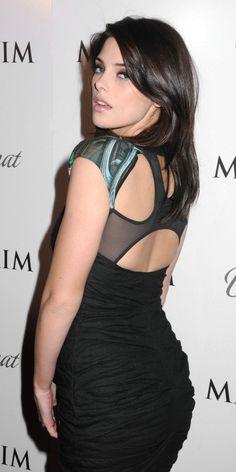 Ashley Greene booty in a black dress