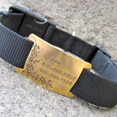Custom pet ID quiet collar tag Golden Vines by makeyourdogsmile