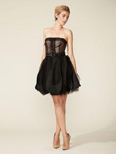 Vera Wang Lavender Label Strapless Embellished Layered Skirt Dress