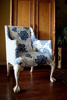vintage upholstered chair blue white two fabrics nodtothepast