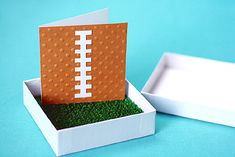 Football party invite complete with astroturf...you know I love anything in a box!