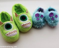 Keep your kid's toes extra warm this winter with this quirky and creative Tip-Toeing Monsters Free Slipper Pattern. This amazing DIY slipper idea is inspired by the treasured film Monsters INC. Your kids will go wild when you make these slippers for them.