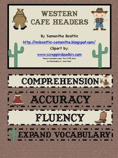 This a Western themed CAFE bulletin board set. Includes letters for CAFE to post above board, header cards with CAFE definitions, and all the CAFE ...