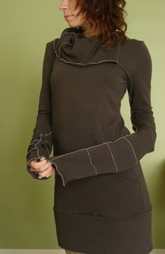 extra long sleeved cowl tunic dress CEMENT GREY. $65.00, via Etsy.