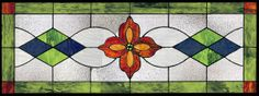 Traditional style stained glass transom window