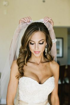 Bride Hair and Make up, curled down, side part with veil. Classic Glam. Scottsdale Country Glam Barn Wedding