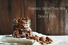 Tastes just like pumpkin pie!! Pumpkin Spice Chex Snack Mix from www.dineanddish.net