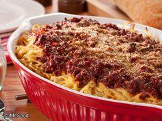 sour cream, ground beef, creami spaghetti, tuscan spaghetti, spaghetti casserol, recip, bake tuscan, mr food, baked spaghetti