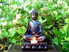 """""""SERENITY"""" ~ My largest Buddha statue, which I ordered from my Partylite® representative. ©2011 Tiffany Reed #buddha #statue #candle #honeysuckle"""