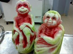 Monkeys-made-of-watermelon fruit, foods, monkeys, watermelon art, watermelon carving, sculptur, foodart, food art, watermelons