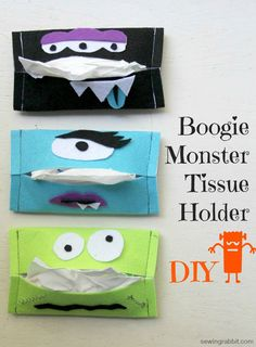 """""""Boogie Monster"""" tissue holders. Super cute for Halloween! Makes a great kid craft too."""