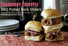 (Slow Cooker) Cranberry Chipotle BBQ Pulled Pork Sliders