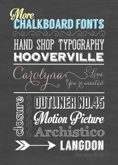 More Free Chalkboard Fonts, Backgrounds & Dingbats - Lisa Moorefield  ~~ {7 Free Fonts & 3 Free Dingbats w/ download links}