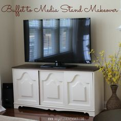 She turned a thrifted buffet into a Media Stand! Looks like Pottery Barn!