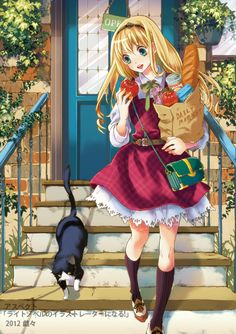 anime girl with cat