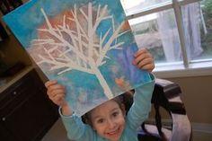 Winter tree silhouette; tape, watercolors, watercolor paper