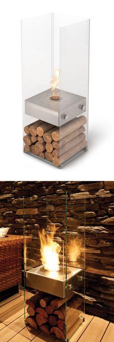 Portable Fireplace - uses environmentally friendly bio-ethanol fuel.