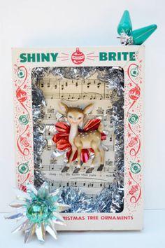 Vintage Shiny Brite Christmas Shadowbox Diorama Pixie Doe. $19.99 Ebay.