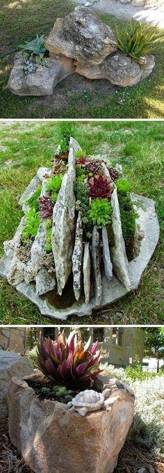 Creative Garden Container Ideas   Use rocks as pla...