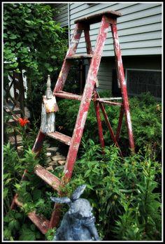Garden Ladder ~ this ladder has a story : )