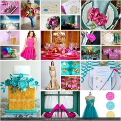 gold teal decor | Fuchsia, Teal, and Gold Wedding