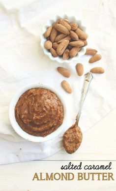 Salted Caramel Almond Butter from Honey & Figs - Only 4 ingredients and it's vegan & paleo! #paleo #condiments