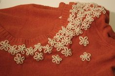 How to Make a Basic Sweater Something Special diy fashion, daisies, stitch, flower tutorial, recycled sweaters, embroid daisi, yarn, lazi daisi, little flowers