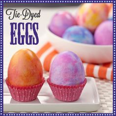 It's easy to make deeply colored Easter eggs by by daubing and blending Wilton Icing Colors for a Tie Dye effect.