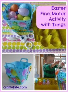 Easter Fine Motor Activity with Tongs - Craftulate