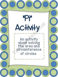 "Pi Activity: Area and Circumference of Circles- Great for Pi Day or Anytime! from Wife Teacher Mommy on TeachersNotebook.com -  (16 pages)  - This ""Pi Activity"" requires students to find the area and circumference of circles. The activity also includes critical thinking questions and a create your own section. Teacher key included."