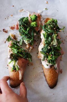 Broccoli Rabe, Burrata, and Prosciutto Crostini